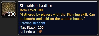 Stonehide Leather! Legion Skinning Farm
